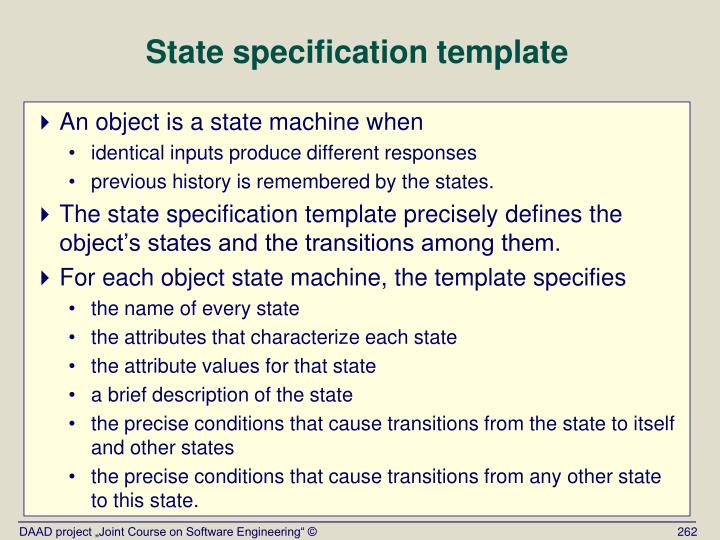 State specification template