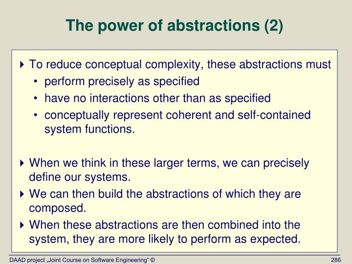 The power of abstractions (2)
