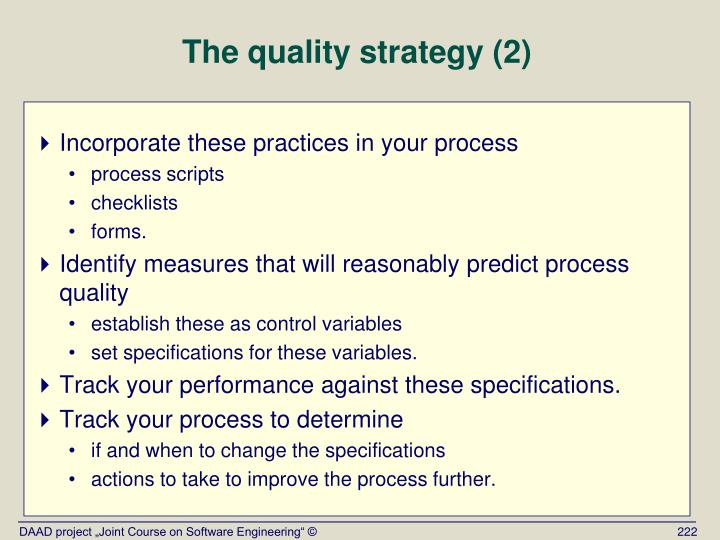 The quality strategy (2)