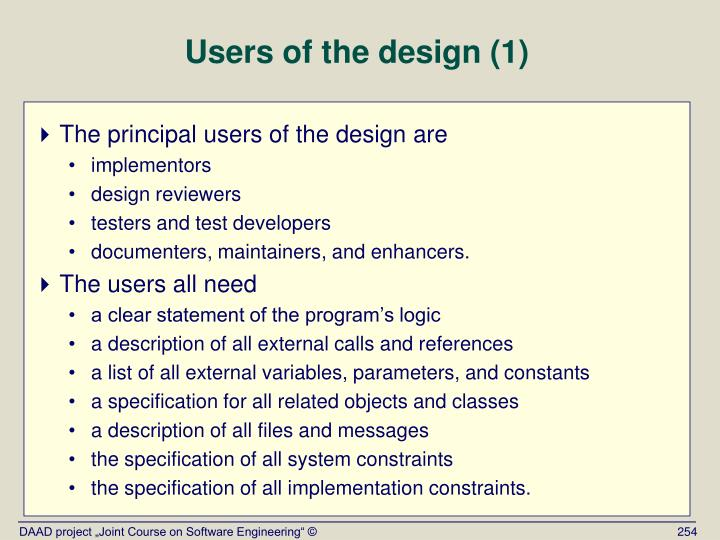 Users of the design (1)