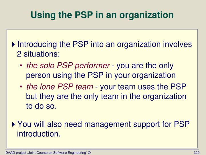 Using the PSP in an organization