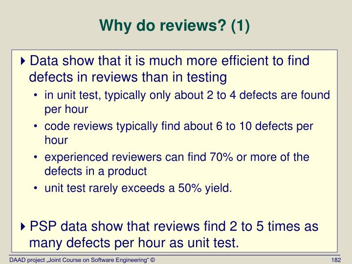 Why do reviews? (1)