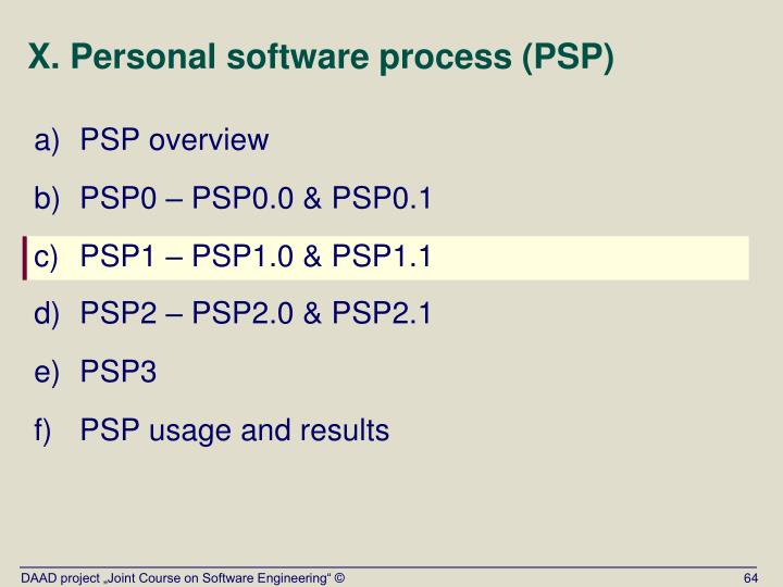 X. Personal software process (PSP)
