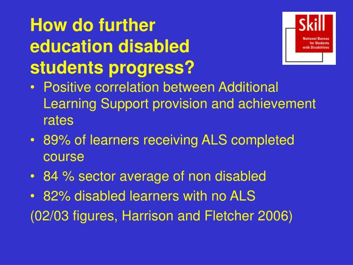 How do further education disabled students progress?