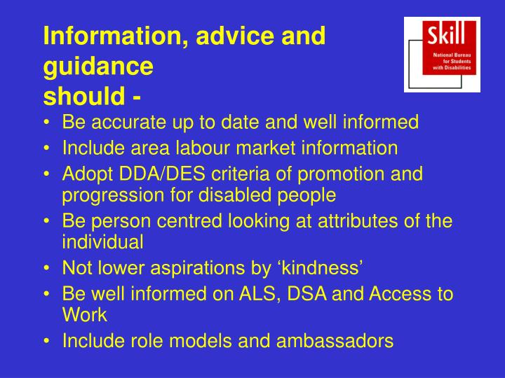 Information, advice and guidance