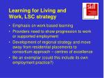 learning for living and work lsc strategy