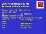 skill national bureau for students with disabilities