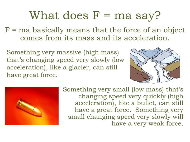 What does F = ma say?