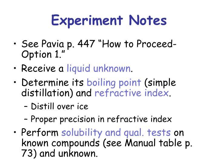 Experiment Notes