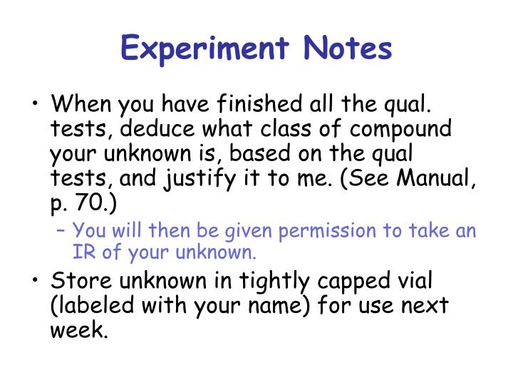 Experiment Notes