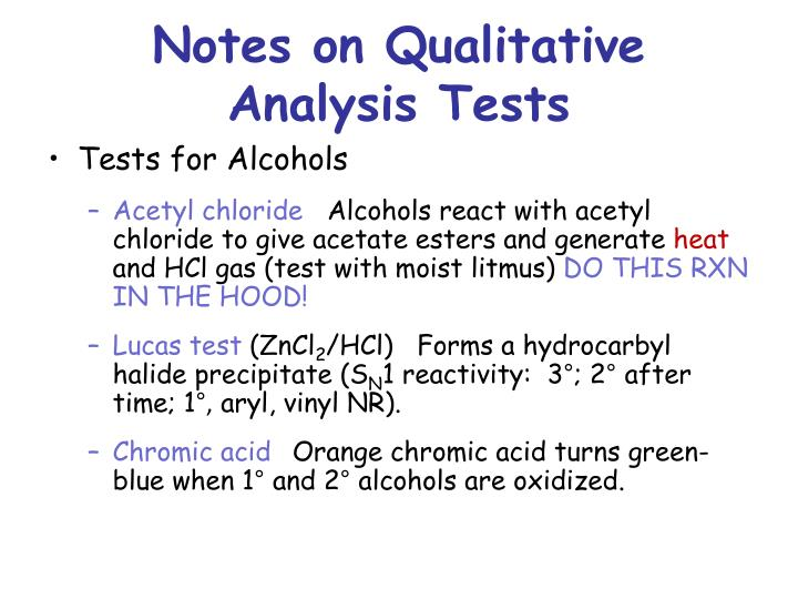 Notes on Qualitative Analysis Tests