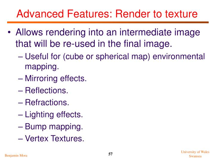 Advanced Features: Render to texture