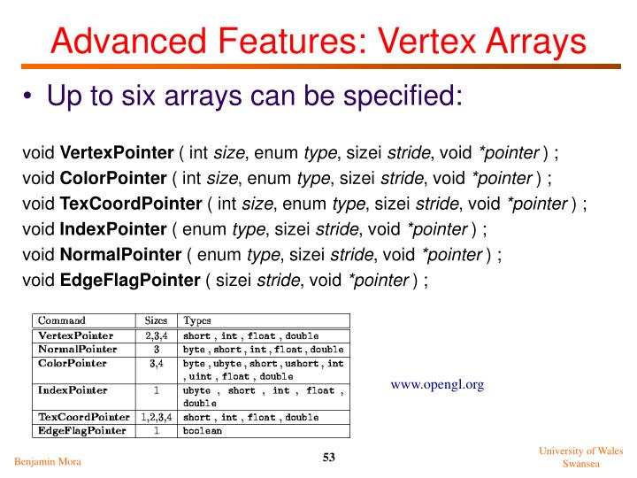 Advanced Features: Vertex Arrays