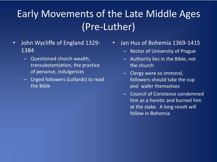 Early Movements of the Late Middle Ages (Pre-Luther)