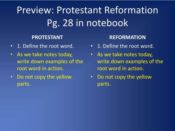 Preview: Protestant Reformation