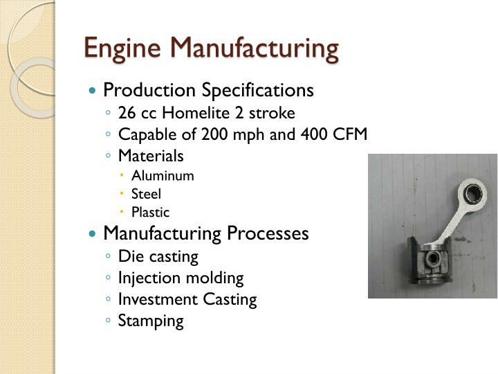 Engine manufacturing