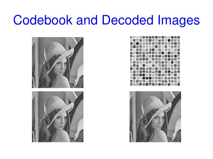 Codebook and Decoded Images