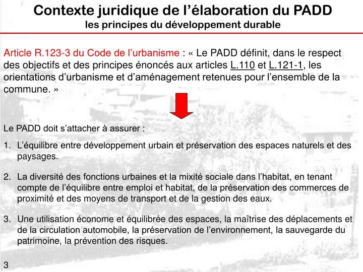 Contexte juridique de l'élaboration du PADD
