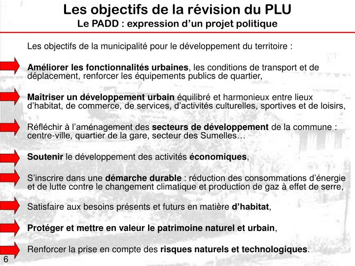 Les objectifs de la révision du PLU