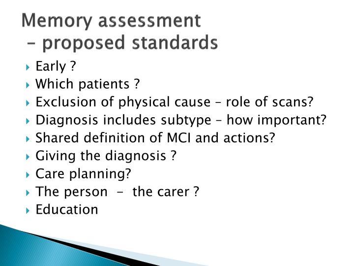 Memory assessment