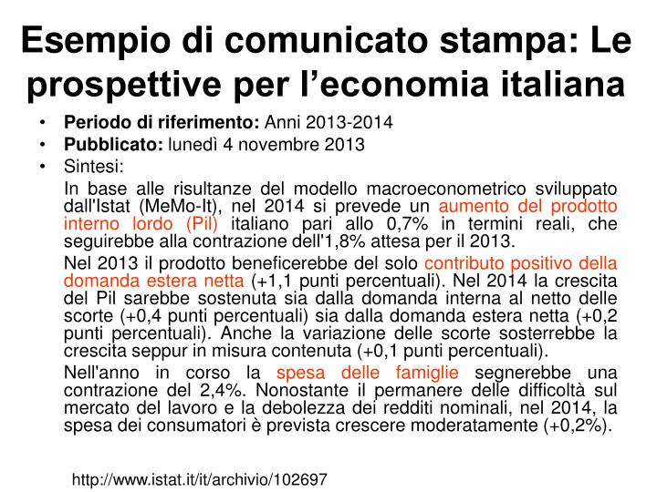 Esempio di comunicato stampa: Le prospettive per l'economia italiana