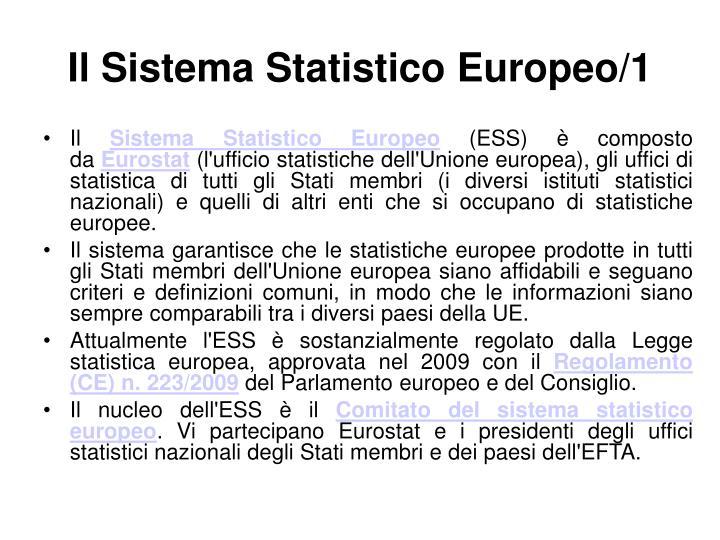 IlSistema Statistico Europeo/1