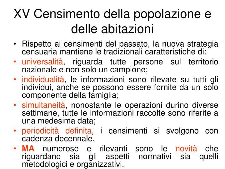 XV Censimento della popolazione e delle abitazioni