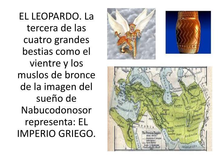 EL LEOPARDO. La tercera de las cuatro grandes bestias como el vientre y los muslos de bronce de la imagen del sueo de Nabucodonosor representa: EL IMPERIO GRIEGO.