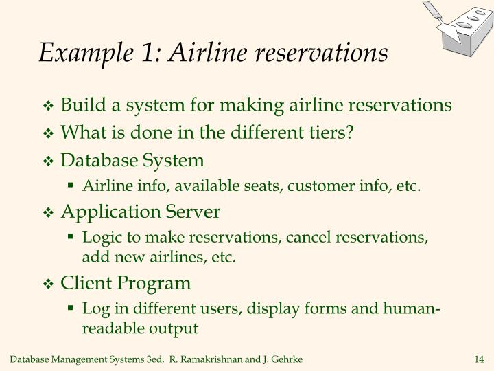 Example 1: Airline reservations