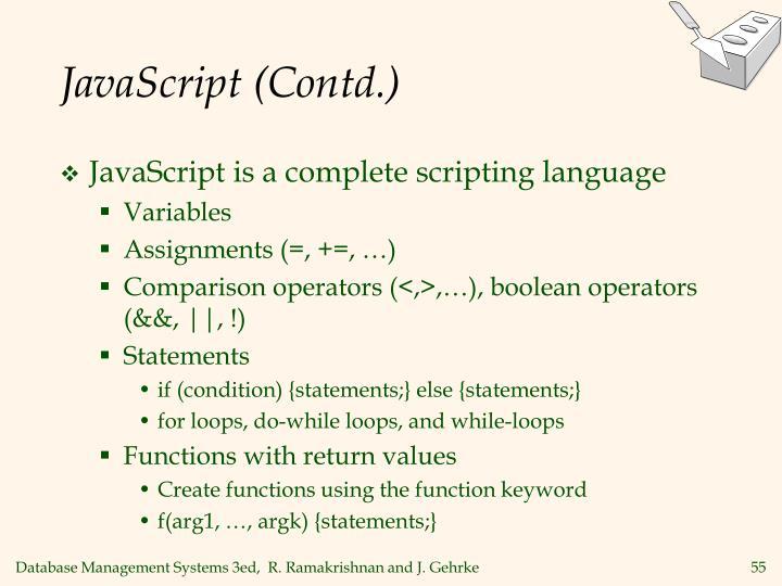 JavaScript (Contd.)