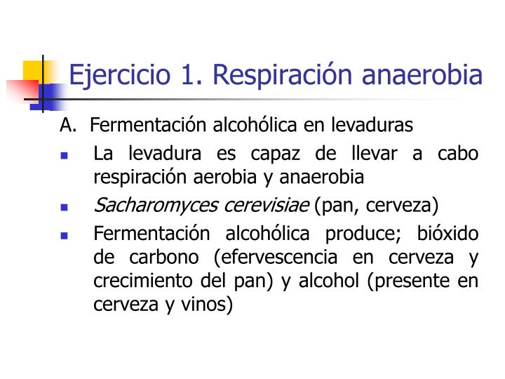 Ejercicio 1. Respiración anaerobia