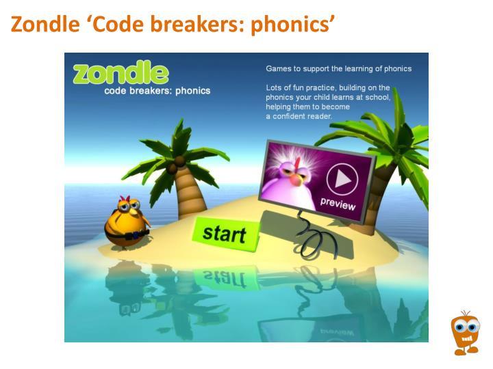 Zondle 'Code breakers: phonics'