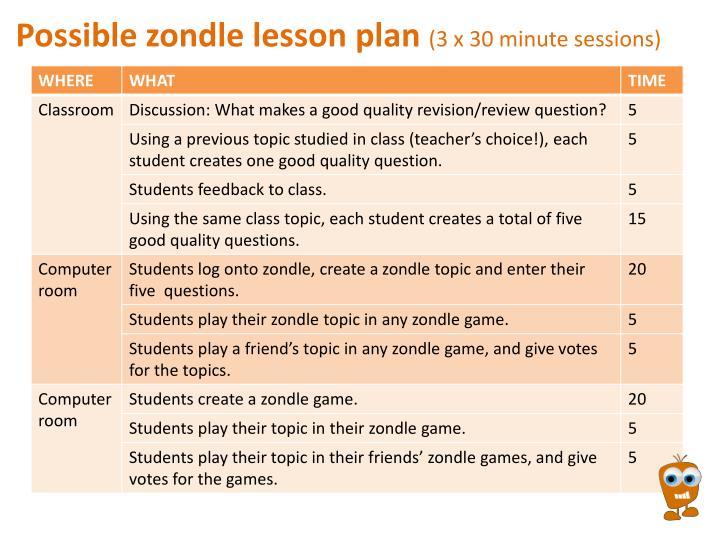 Possible zondle lesson plan