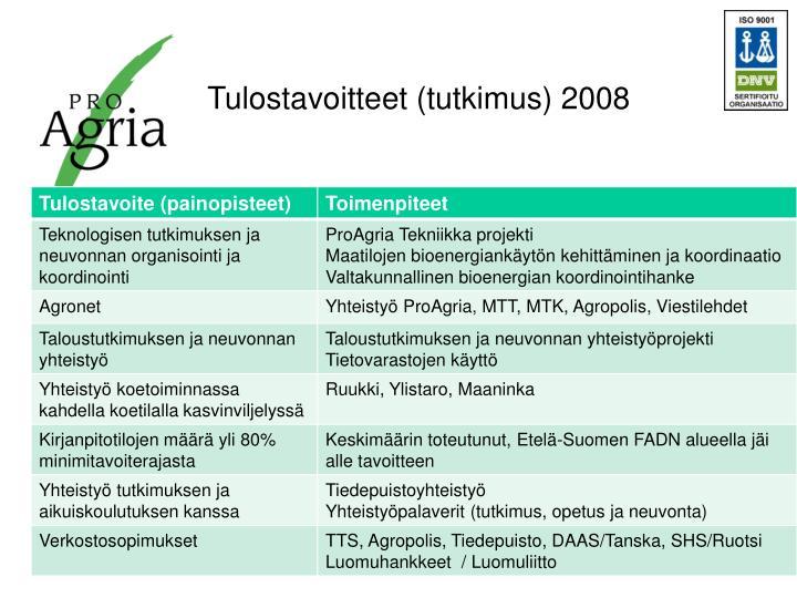 Tulostavoitteet (tutkimus) 2008