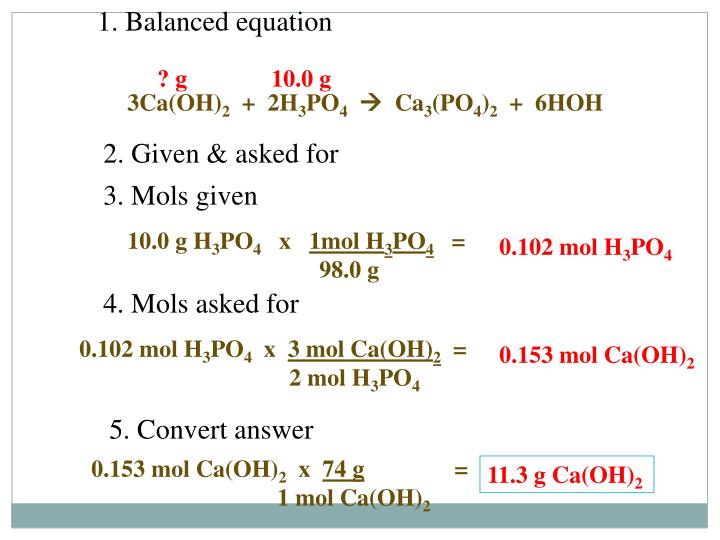1. Balanced equation