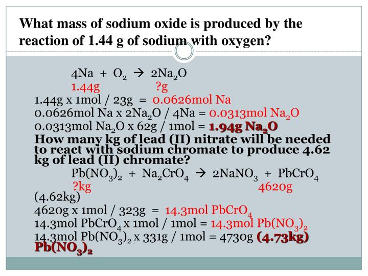 What mass of sodium oxide is produced by the reaction of 1.44 g of sodium with oxygen?