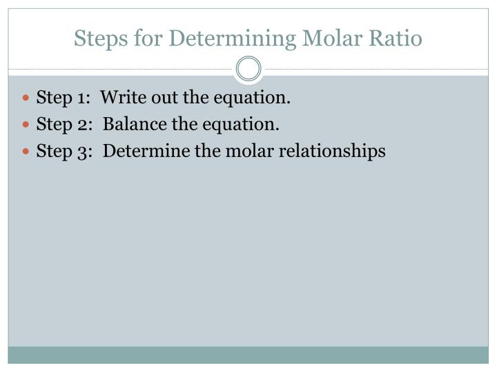Steps for Determining Molar Ratio