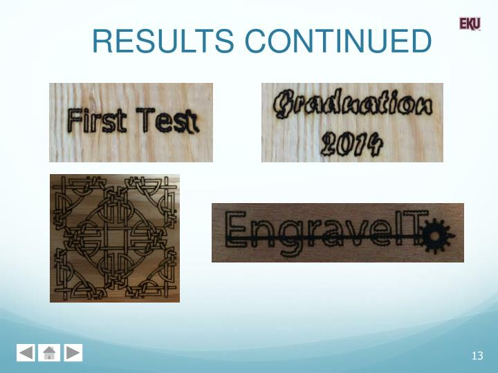 RESULTS CONTINUED
