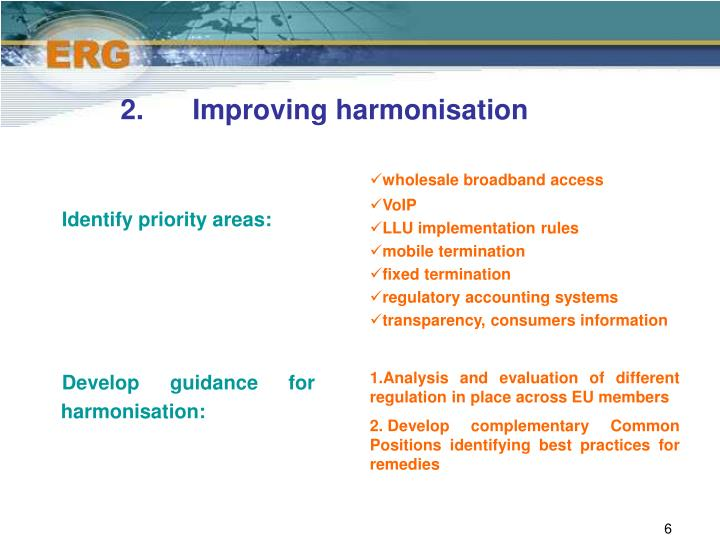2.	Improving harmonisation