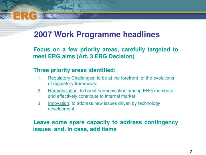 2007 work programme headlines
