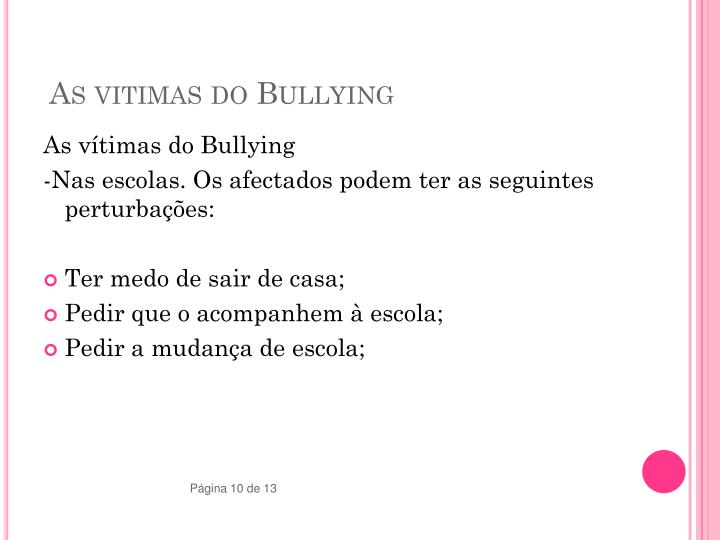 As vitimas do Bullying