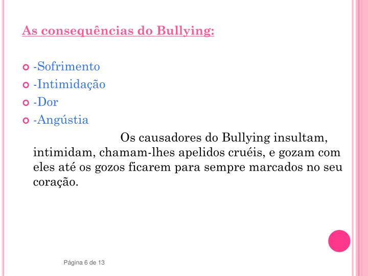 As consequências do Bullying: