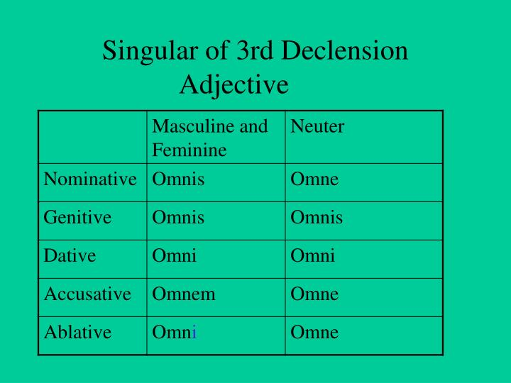 Singular of 3rd Declension Adjective