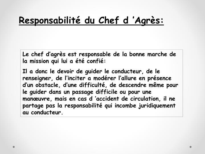Responsabilité du Chef d'Agrès: