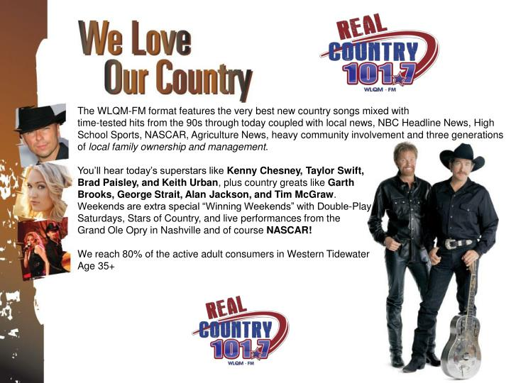The WLQM-FM format features the very best new country songs mixed with