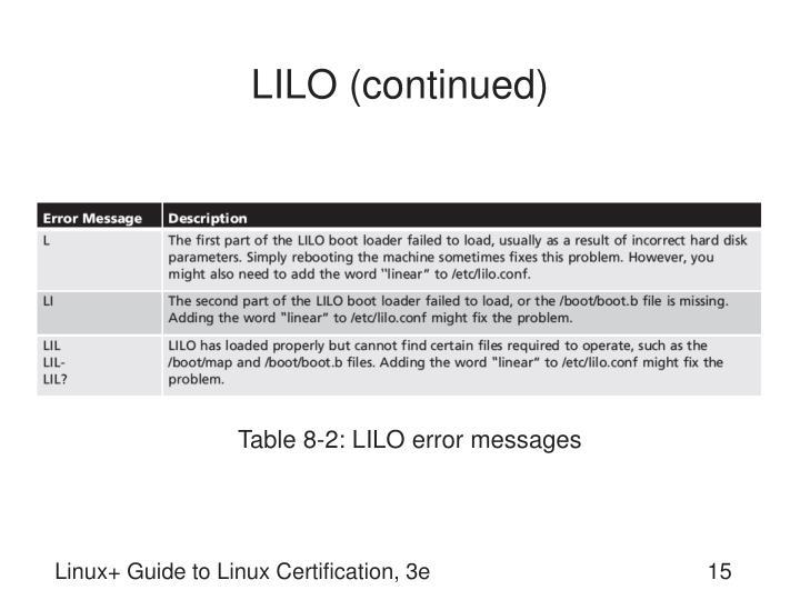 LILO (continued)