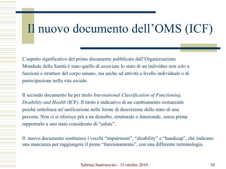 Il nuovo documento dell'OMS (ICF)