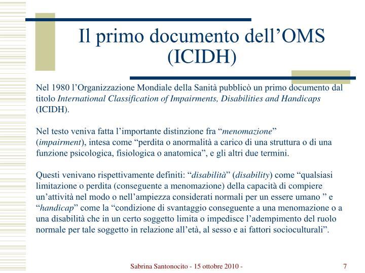 Il primo documento dell'OMS (ICIDH)