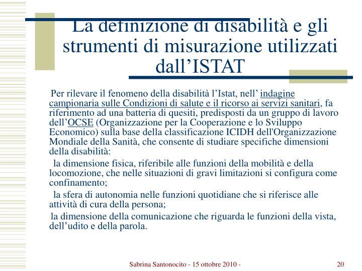 La definizione di disabilità e gli strumenti di misurazione utilizzati dall'ISTAT