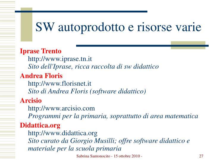 SW autoprodotto e risorse varie